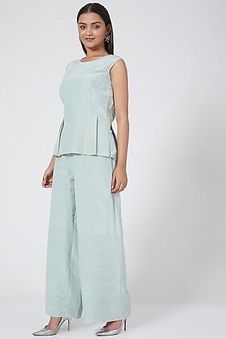 Mint Green Straight Pant Set by Sejal Jain