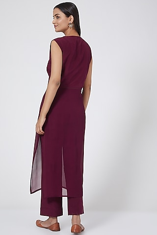 Wine Georgette Tunic Set With Side Slits by Sejal Jain