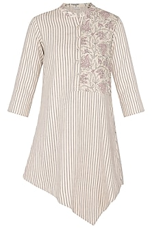 Off White Hand Woven & Printed Asymmetrical Tunic by Sejal Jain