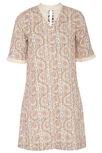 Beige Hand Woven & Printed Mini Dress by Sejal Jain
