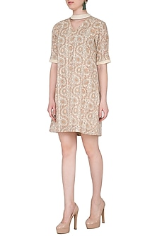 Beige Hand Woven & Printed Mini Dress by Sejal Jain