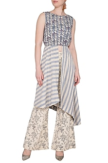 Off White Printed Embroidered Top With Pants by Sejal Jain