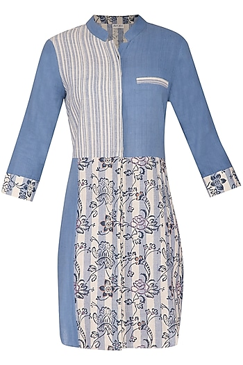Sky Blue Woven, Embroidered & Printed Mini Dress by Sejal Jain