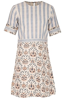 Off White Hand Block Printed Mini Dress by Sejal Jain