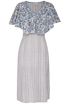 Sky Blue Floral Printed Midi Dress by Sejal Jain