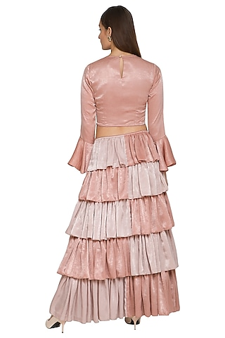 Blush Pink Embroidered & Ruffled Gown by Sejal Jain