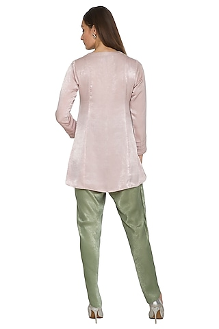 Mauve Embroidered Short Tunic With Dhoti Pants by Sejal Jain