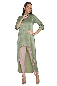 Mehendi Green Asymmetrical Floral Tunic With Dhoti Pants by Sejal Jain