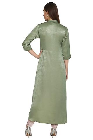 Mehendi Green Asymmetrical Floral Tunic With Dhoti Pants by Sejal Jain