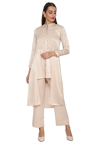 Beige Asymmetrical Floral Tunic With Pants by Sejal Jain