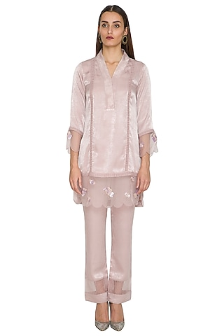 Mauve Embroidered Short Floral Tunic With Pants by Sejal Jain