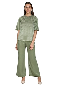 Mehendi Green Floral Top With Pants by Sejal Jain