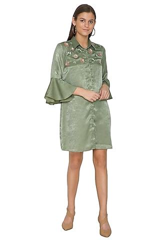 Mehendi Green Embroidered Shirt Dress by Sejal Jain