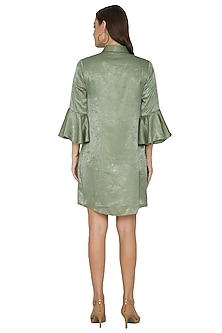 Mehendi Green Embroidered Shirt Dress by Sejal Jain