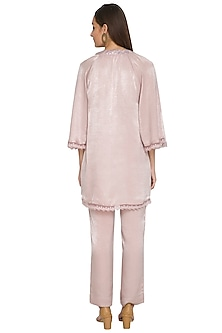 Mauve Embroidered Short Tunic With Pants by Sejal Jain