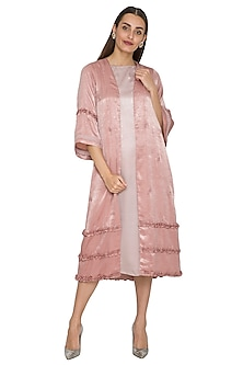 Blush Pink Embroidered Cape With Inner by Sejal Jain