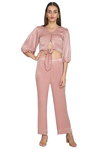 Blush Pink Bow-Tie Crop Top With Pants by Sejal Jain