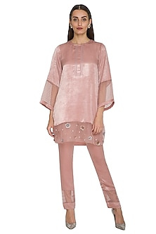 Blush Pink Embroidered Short Tunic With Cigarette Pants by Sejal Jain