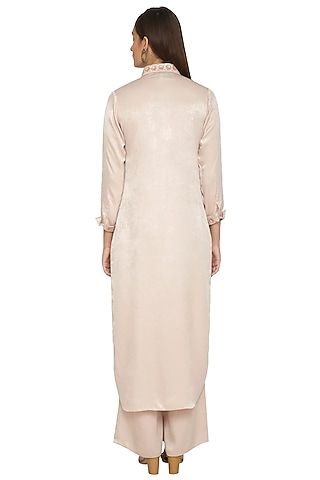 Beige Embroidered Long Tunic With Pants by Sejal Jain