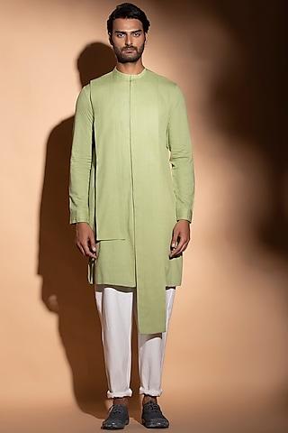 Lime Cotton Button Down Kurta by STUDIO ERROR MEN