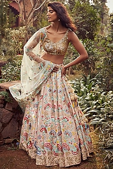 Blush Pink & Gold Embroidered Lehenga Set by Seema Gujral