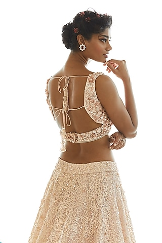 Rose Gold Embroidered Lehenga Set by Seema Gujral