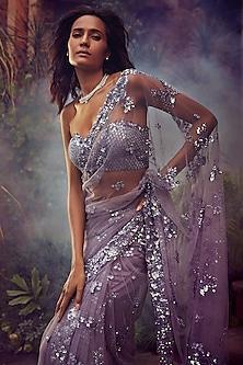 Mauve Embroidered Saree Set by Seema Gujral
