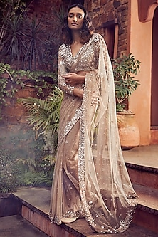 Coffee Brown Embroidered Saree Set by Seema Gujral