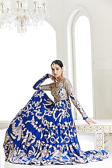 Royal Blue Embroidered Tiered Anarkali With Dupatta by Seema Gujral