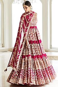 Rani Pink Embroidered Anarkali Lehenga Set by Seema Gujral