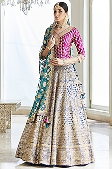Blue & Pink Embroidered Lehenga Set by Seema Gujral