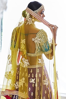 Multi Colored Embroidered Lehenga Set by Seema Gujral