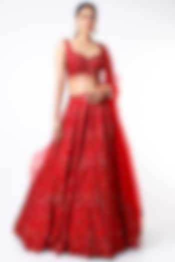 Red Sequins Embroidered Lehenga Set by Seema Gujral