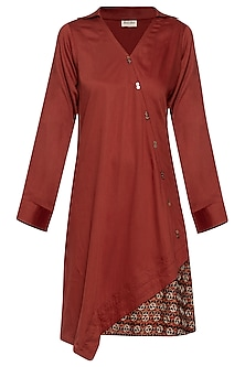 Maroon embroidered printed dress by SEJAL JAIN