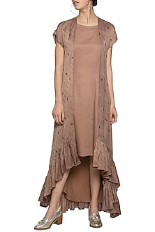 Mud frill embroidered cape with dress by SEJAL JAIN