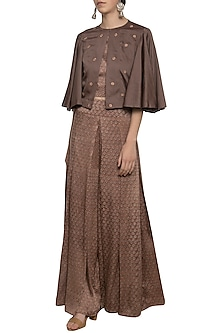 Mud embroidered cape with top and palazzo pants by SEJAL JAIN