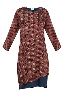 Maroon and blue embroidered layered dress by SEJAL JAIN