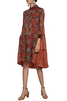 Maroon embroidered shirt dress by SEJAL JAIN
