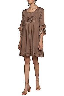 Mud embroidered printed pleated dress by SEJAL JAIN