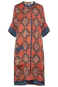 Maroon and blue embroidered overlay dress by SEJAL JAIN