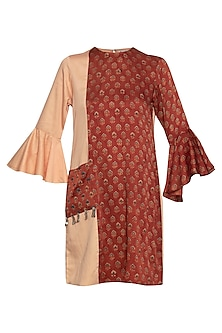 Maroon and peach embroidered shift dress by SEJAL JAIN
