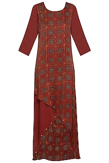 Maroon embroidered asymmetrical gown by SEJAL JAIN