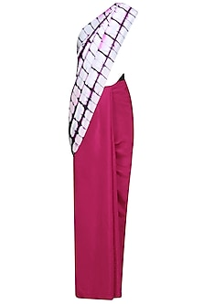 Fuchsia Pink, White and Black Pure Silk Clamp Dyed Saree by RESHA
