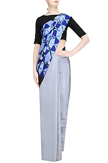 Grey, Navy and Black Pure Silk Clamp Dyed Saree by RESHA