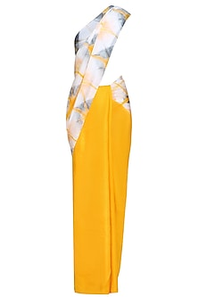 Golden Yellow and Grey Pure Silk Clamp Dyed Saree by RESHA
