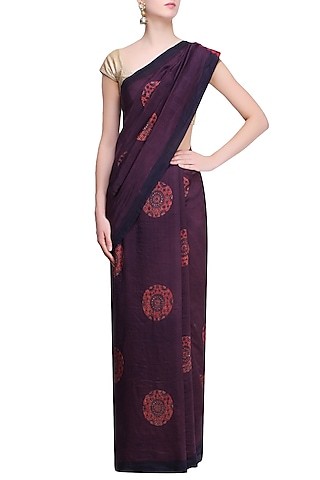 Purple, Indigo and Red Pure Silk Ajrakh Printed Saree by RESHA