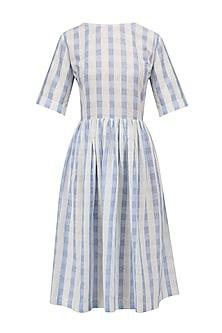 White and Blue Soho Dress by Label Ishana