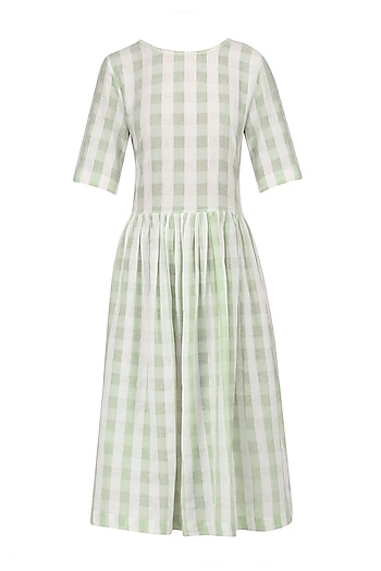 White and Green Soho Dress by Label Ishana
