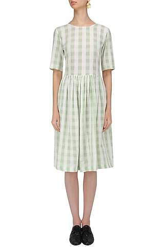 White and Green Soho Dress by Label Ishana