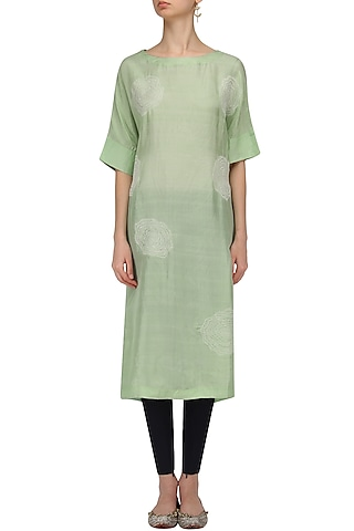 Pista Green Floral Work Kurta by Label Ishana